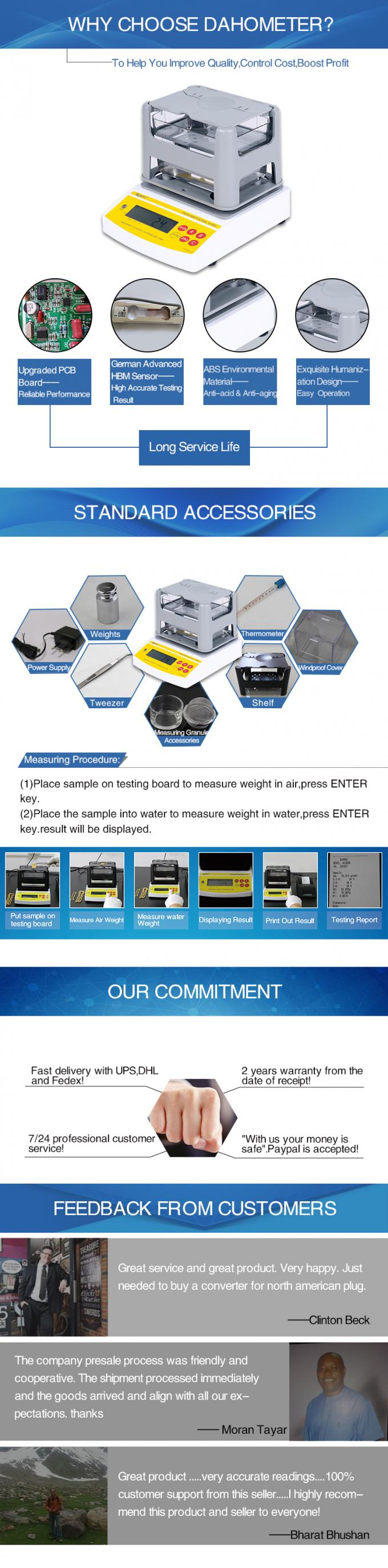 Digital Electronic Precious Metal Tester , Gold Density Tester , Gold Purity Tester with Printer AU-2000K